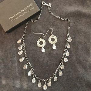 Silpada silver & crystal earring & necklace set